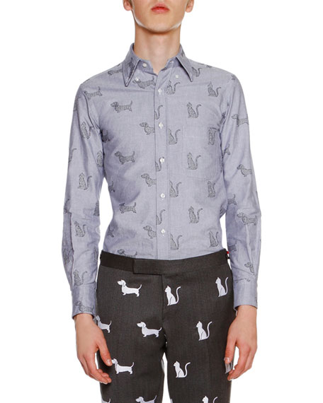 Classic Cat-Embroidered Shirt. Navy