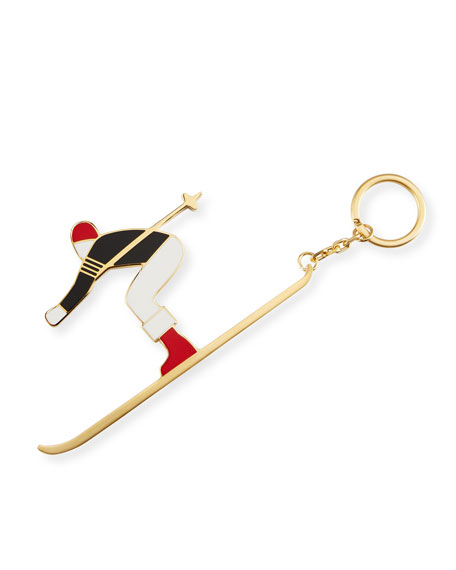 Enameled Skier Key Ring