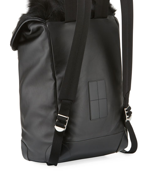 Rider Leather Backpack with Fur Flap