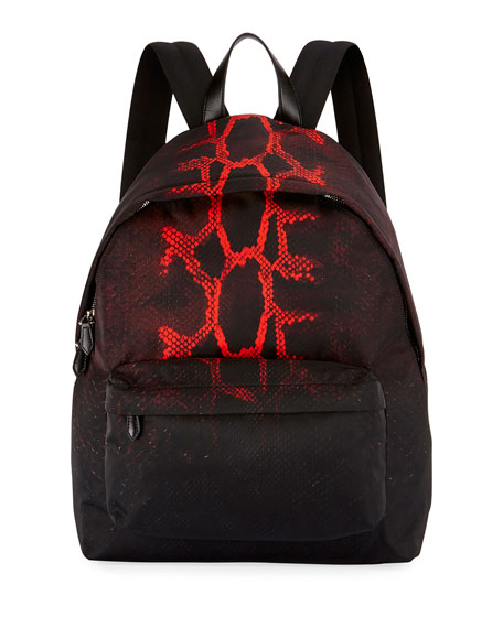 Snake-Print Nylon Backpack, Black/Red