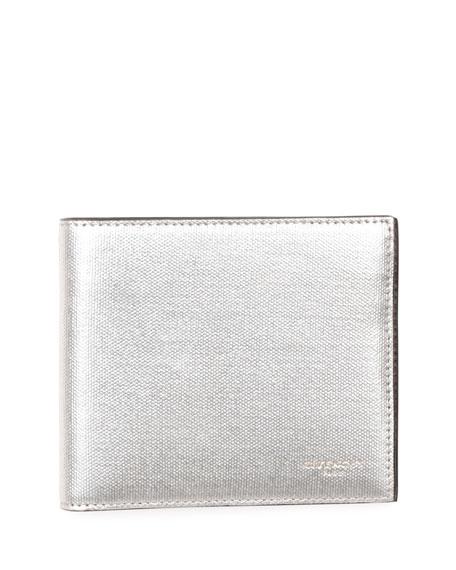 Metallic Leather Bi-Fold Wallet, Silver
