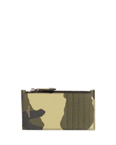 Camo Zip-Top Card Case, Multicolor