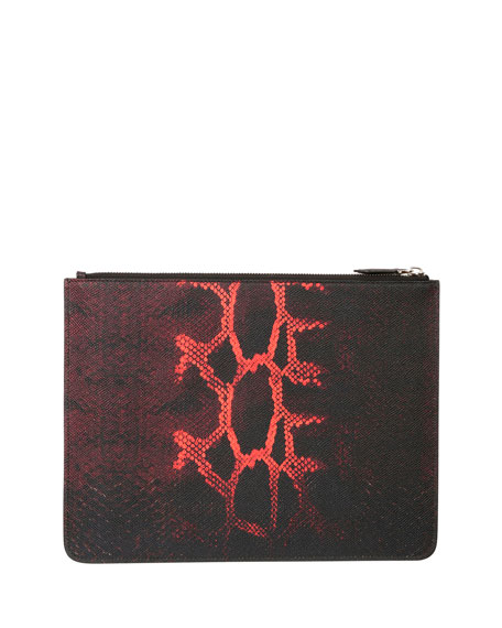 Snake-Print Leather Zip-Top Pouch, Black/Red