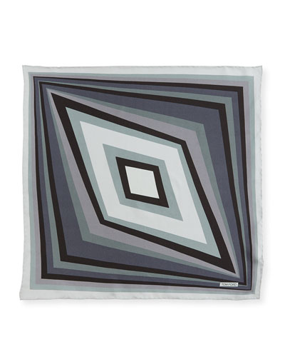 Geometric Diagonal Silk Pocket Square