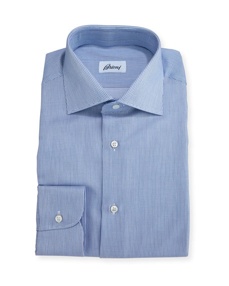 Brioni Narrow-Stripe Dress Shirt, Blue