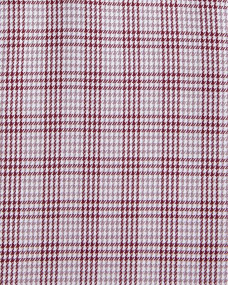 Houndstooth Plaid Dress Shirt, Red