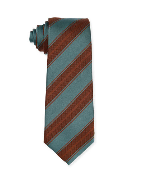 Diagonal-Stripe Silk Tie