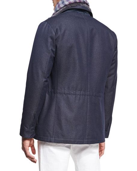 Castorino Fur-Lined Traveler Coat, Navy