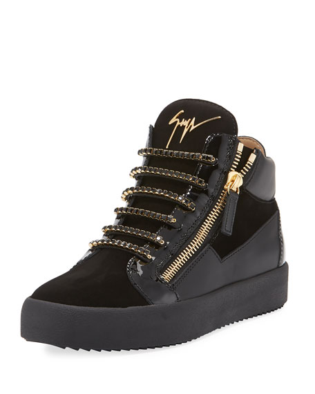 Men's Crystal-Lace Velvet & Leather Mid-Top Sneaker