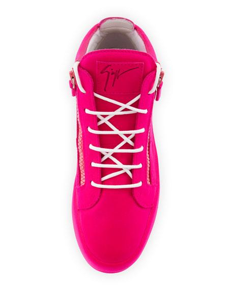 Men's Flocked Leather Mid-Top Sneaker