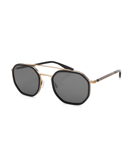 Themis Octagonal Sunglasses, Black/Gold/Noir