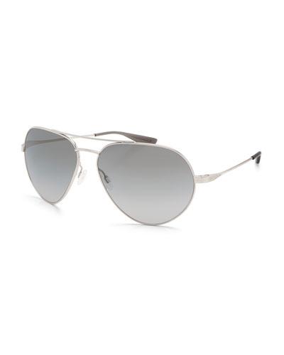 Commodore Metal Aviator Sunglasses, Silver/Moonstruck