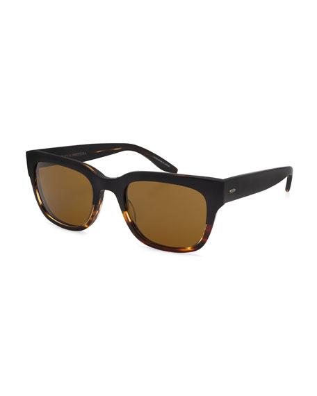 Stax Rectangular Acetate Sunglasses, Raven/Tortoise Gradient/Vintage Brown