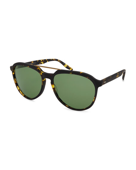 Bulger Acetate Teardrop Aviator Sunglasses, Matte Heroine Chic/Brushed Gold/Bottle Green