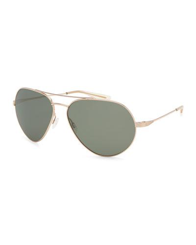 Commodore Polarized Metal Aviator Sunglasses, Gold/Safari