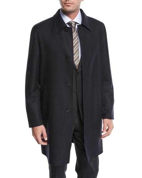 Single-Breasted Wool Button-Front Car Coat