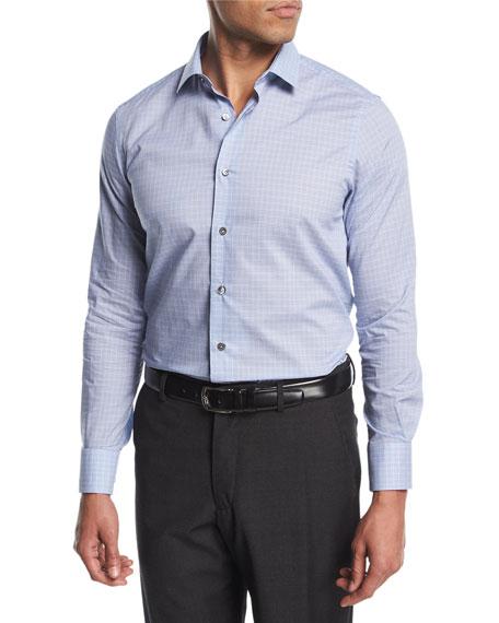 Mini-Plaid Cotton Dress Shirt