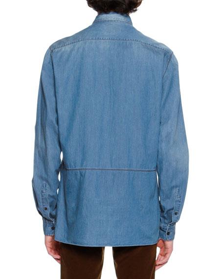 Faded Denim Patch Shirt, Light Blue