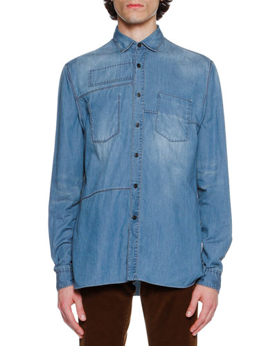 Faded Denim Patch Shirt, Light Blue
