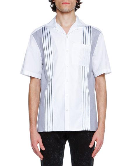 Cotton Bowling Shirt with Grosgrain Stripes, White