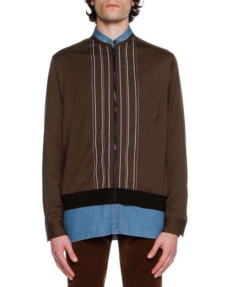 Striped Silky Bomber Jacket, Khaki