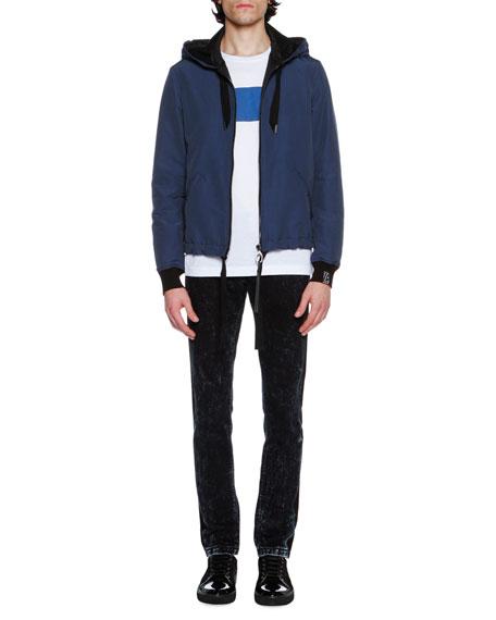 Acid-Wash Tuxedo-Stripe Skinny Jeans, Blue/Gray