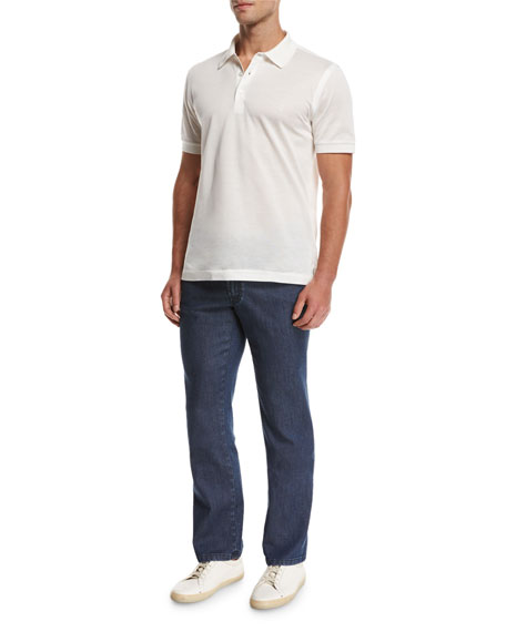 Dark-Wash Stretch-Denim Jeans, Blue