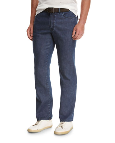 Dark-Wash Stretch-Denim Jeans, Blue