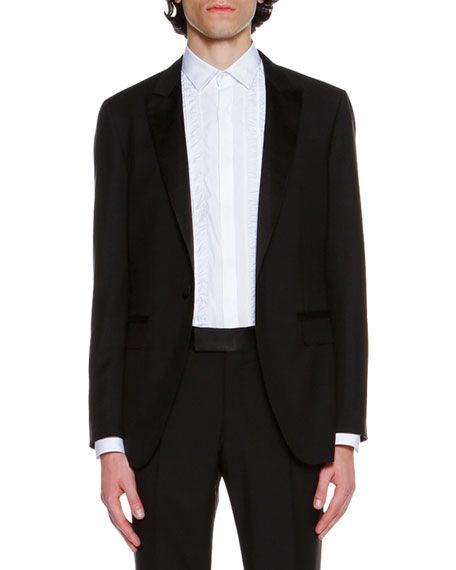 Shawl-Collar Tuxedo Jacket, Black