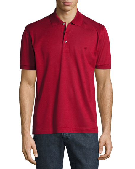Cotton Pique Polo Shirt, Red