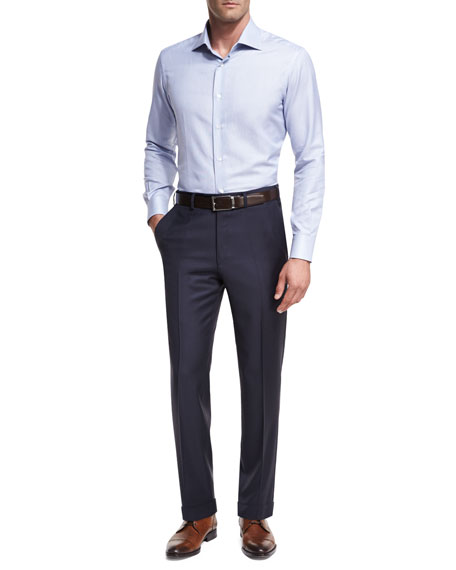 Sharkskin Flat-Front Trousers