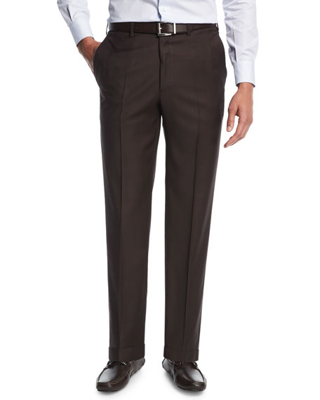 Sharkskin Flat-Front Trousers, Brown