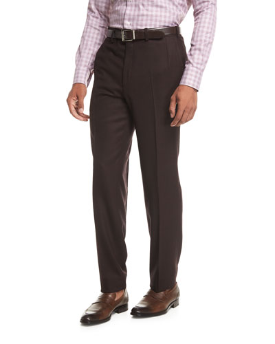 Wool Flannel Flat-Front Trousers, Burgundy