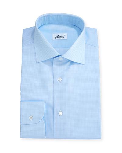 Tonal Houndstooth Dress Shirt, Blue