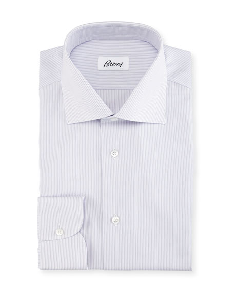 Brioni Narrow-Stripe Cotton Dress Shirt