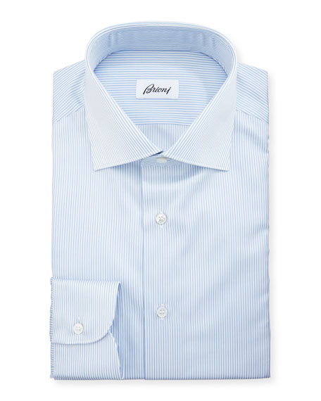 Multi-Stripe Cotton Dress Shirt, Blue