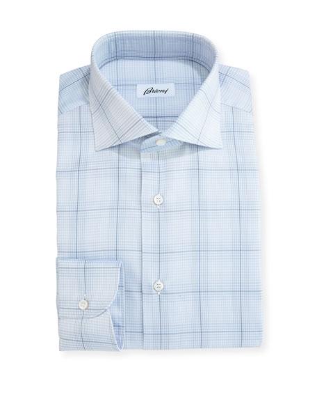 Plaid Dress Shirt, Light Gray/Blue