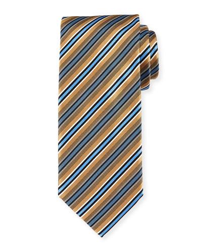 Framed-Stripe Silk Tie, Gold