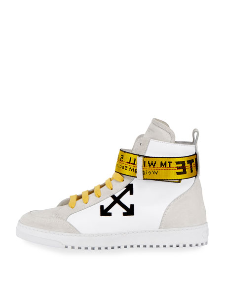 Suede & Leather High-Top Sneaker, White/Black