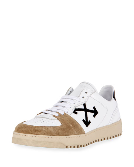 70s Leather & Suede Low-Top Sneaker, White/Black