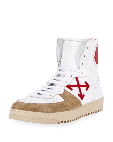 70s Leather & Suede High-Top Sneaker, White/Red