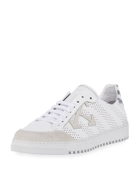 Off-White Perforated Leather & Suede Low-Top Sneaker, White