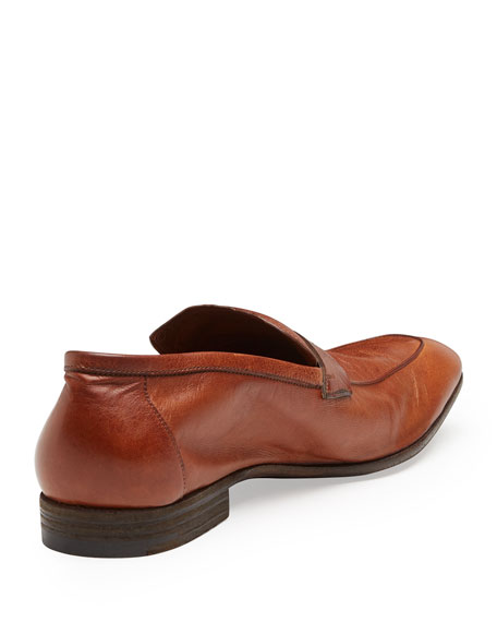 Lorenzo Unlined Leather Loafer, Brown