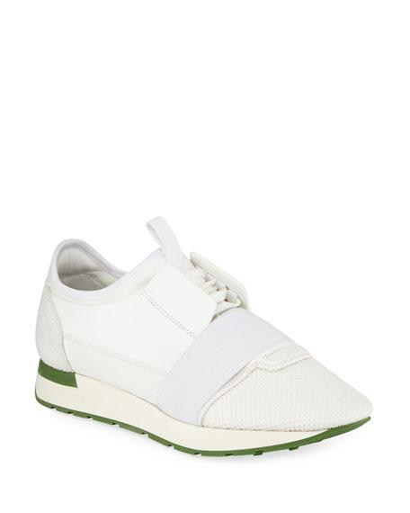 Men's Race Runner Mesh & Leather Sneaker, White