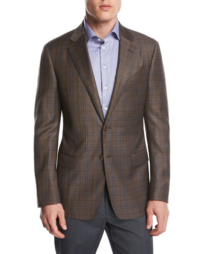 Plaid Wool Two-Button Sport Coat, Light Rust Brown