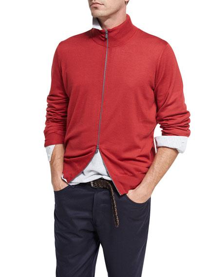 Wool-Cashmere Full-Zip Cardigan, Ruby