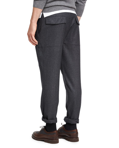 Para Wool Cargo Pants, Dark Gray