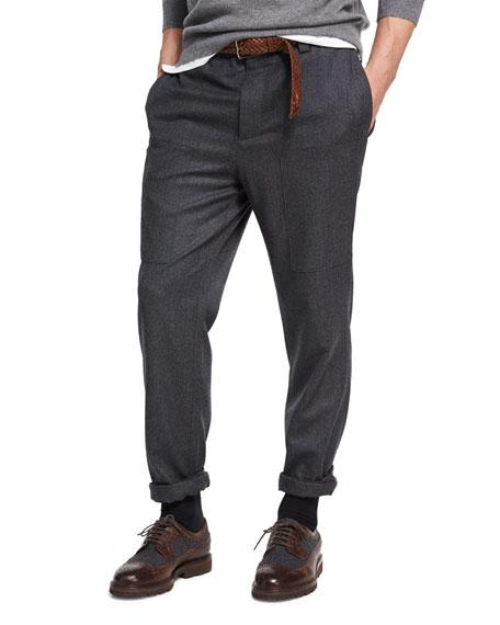Para Wool Cargo Pants, Dark Gray