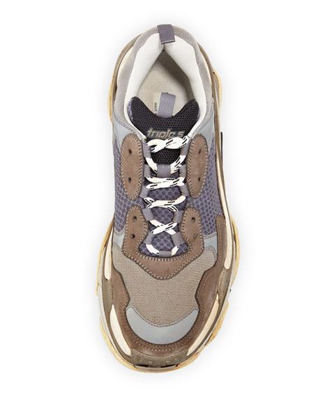 Triple S Mesh & Leather Trainer Sneaker, Gray