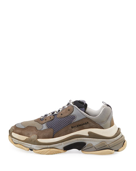 Triple S Mesh & Leather Trainer Sneaker, Gray